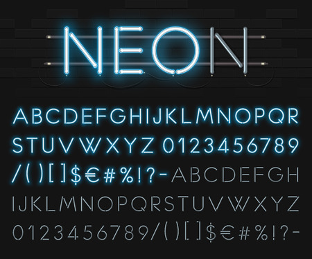 Realistic neon alphabet on a background of black brick wall. Blue glowing font. Vettoriali