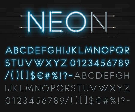 Realistische neon alfabet op een achtergrond van zwarte bakstenen muur. Blauwe gloeiende lettertype.