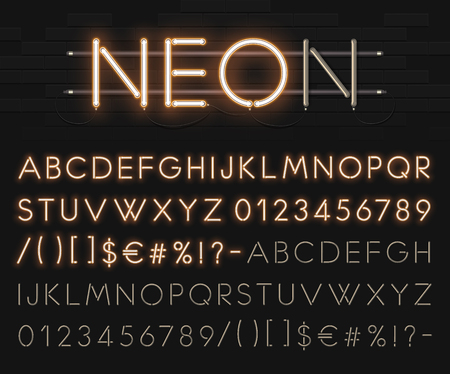 Realistic neon alphabet on a background of black brick wall. Bright glowing font.