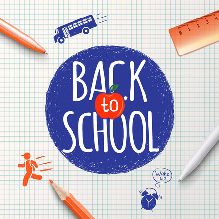 stationery items: Back to school inscription on the background of school stationery items and icons hand-drawn. Back to school poster, education background