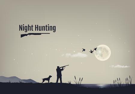 illustratie van de werkwijze jacht naar eenden in de nacht. Silhouetten van een jachthond met de jager tegen de achtergrond van de nachtelijke hemel met sterren en de maan. Vector Illustratie