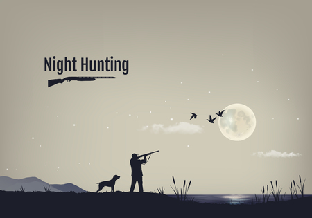 ilustración del proceso de caza de patos en la noche. Siluetas de un perro de caza con el cazador contra el fondo del cielo nocturno con las estrellas y la luna. Ilustración de vector