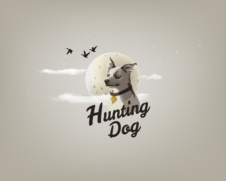Color illustration of a hunting dog on the background of the moon