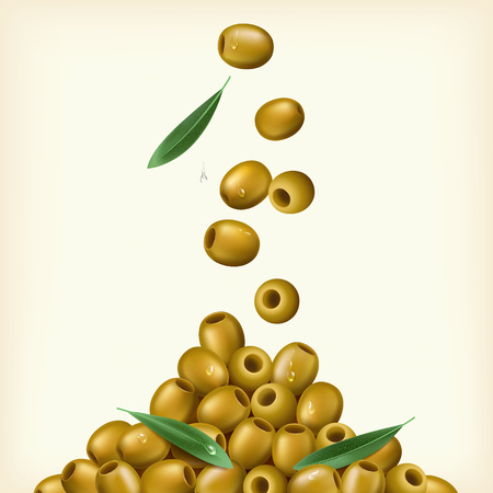 spanish food: Realistic illustration of green olives, pitted with leaves. Illustration
