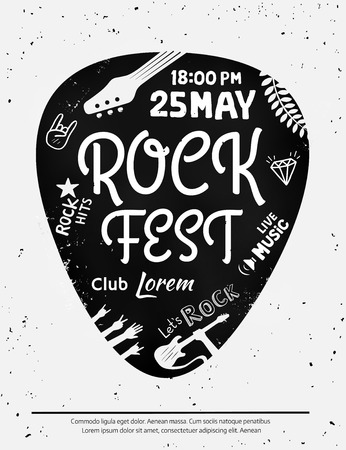 Vintage rock festival poster with Rock and Roll icons on grunge background. Ilustração