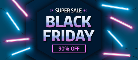 Black friday sale banner. Glowing neon background.