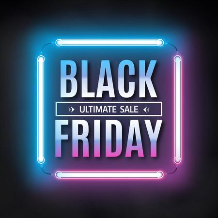 black light: Black friday sale design template. Black friday light frame. Glowing neon background.