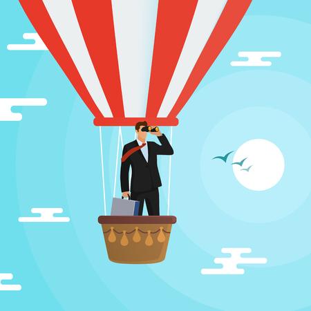 Businessman flying in a hot air balloon. In search of an idea. Иллюстрация