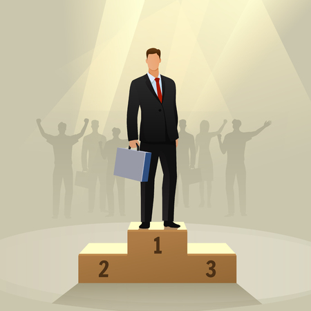 Success businessman character standing in a podium.