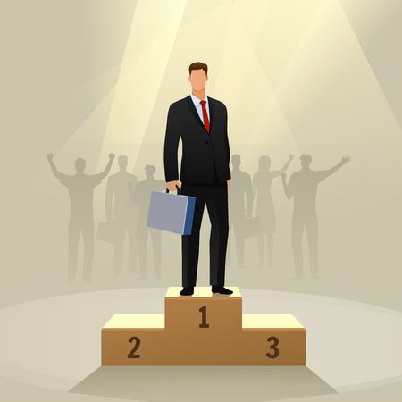Succes zakenman karakter staande in een podium.
