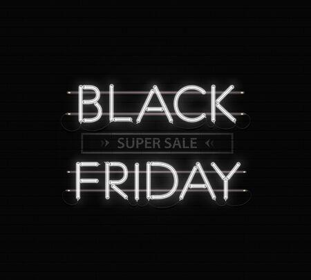 Black friday sale banner, poster. Black friday neon inscription on black brickwork