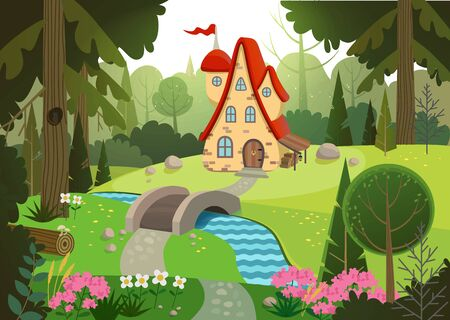 Fairytale forest with a house and a bridge over the river. House surrounded by trees and river. Flat vector illustration.