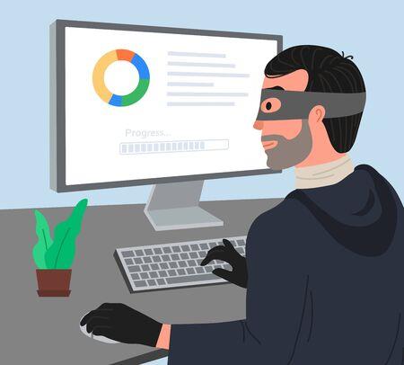 Hacker attack vector illustartion. Hacker working on a code. Hacker writes viruses and hacks a computer. Dos attack, Internet phishing concept.