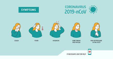 Coronavirus 2019-nCoV symptoms, healthcare and medicine infographic Ilustración de vector