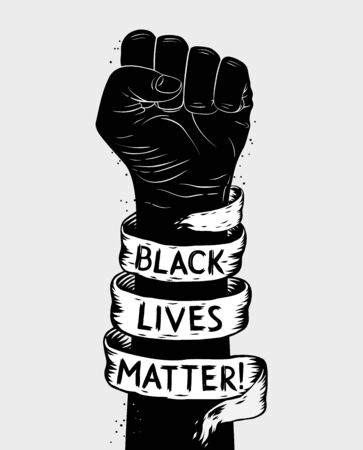 Protest poster with text BLM, Black lives matter and with raised fist Vectores