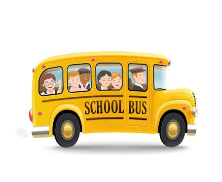 Cartoon school bus with children. Back to school concept. Vector illustration. Ilustración de vector