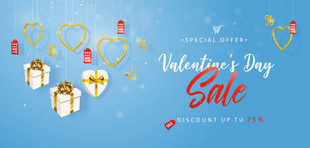 Valentines Day Sale. Horizontal banner, flyer, poster, cover. Promotion and shopping template or background for Love and Valentines day concept. Vector illustration