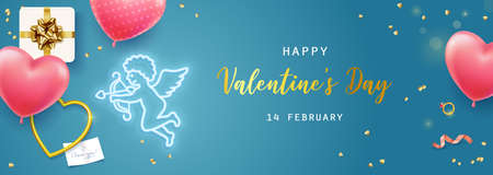 Happy Valentines Day. Banner, flyer, poster, greeting card with realistic design elements, gift box, metal hearts, balloons in the shape of heart, strewn with confetti. Romantic background