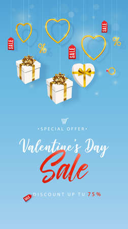 Valentines Day Sale. Vertical banner, flyer, poster, with realistic design elements, gift box, metal golden hearts. Promotion and shopping template or romantic background Illusztráció
