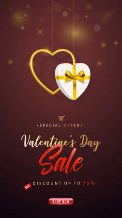 Valentines Day Sale. Vertical banner, flyer, poster. Promotion and shopping template or background for Love and Valentines day concept. Vector illustration