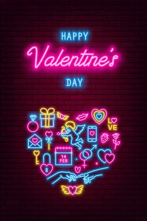 Valentines Day neon baner, flyer, poster, greeting card. Valentine day neon signs on brick wall background. Vector illustration Illusztráció