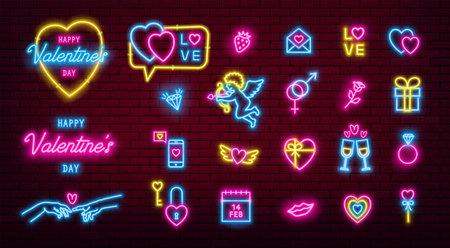Valentines Day glowing neon icons pack. Illusztráció