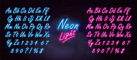 Realistic neon alphabet on dark brick wall and smoke background. Vector illustration Ilustração