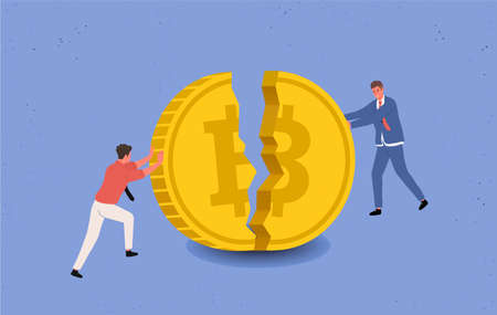 Bitcoin Price Drops, annoyance, Panic. Bankrupt Bitcoin. Two miners, businessmen are trying to keep a large bitcoin coin from crashing and falling. Cartoon style Vector Illustration