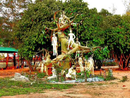 buddism: Statue of the Buddhist belief in a mythical forest creatures, Legendary of Himmaphan.