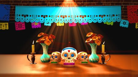 Day of the dead offering, Mexican ofrenda