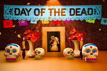 Day of the dead, Mexican ofrenda with a picture of skulls 3D illustration lettering in English. Foto de archivo