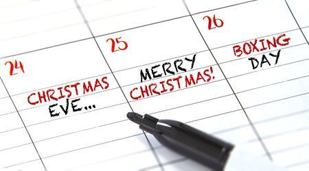 Fêtes de décembre dans un calendrier. La veille de Noël, Noël et le lendemain de Noël. Banque d'images