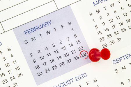 Ein Kalender am 29. Februar in einem Schaltjahr, Schalttag Standard-Bild