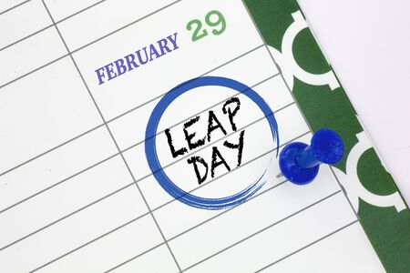 Close up a calendar on February 29 on a leap day