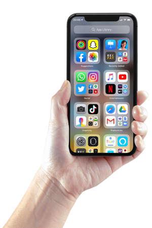 San Francisco, California, USA. June 23, 2020. A person using the IOS14 app library Editorial