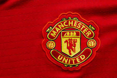 Calgary, Alberta, Canada. July 10, 2020. Manchester United vs Liverpoool FC football soccer close up to their jersey logos Редакционное