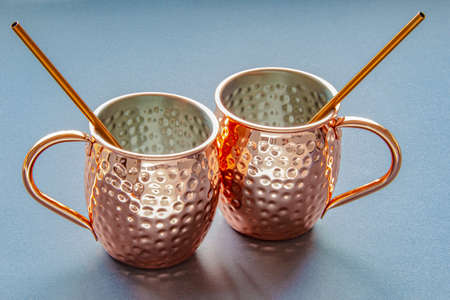 Moscow Mule Mug on a dark surface Stock Photo