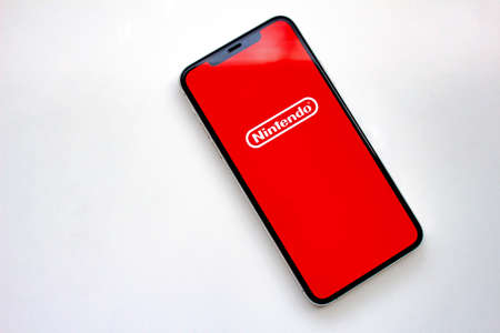 Calgary, Alberta, Canada. Sep 23, 2020. An iPhone 11 Pro Max with the Nintendo Logo on the screen.