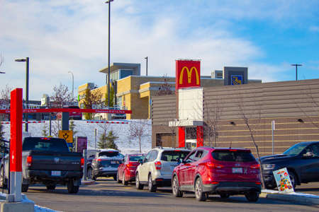 Calgary Alberta, Canada. Oct 17, 2020. A Drive thru McDonald's, an American fast food company restaurant from San Bernardino, California, United States. Editorial