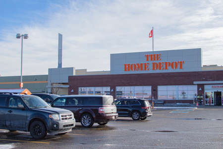 Calgary Alberta, Canada. Oct 17, 2020. The Home Depot is the largest home improvement retailer in the United States, supplying tools, construction products, and services.