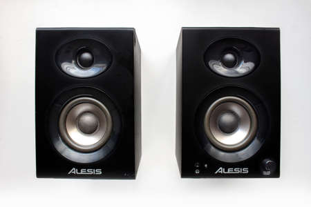 Calgary Alberta, Canada. Oct 17, 2020. Alesis Elevate 3 monitor speakers for music mix. Concept: Music production. Editorial