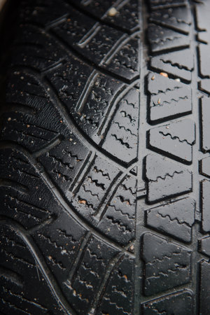 tire marks: Tire marks, old and dirty black tyres tread pattern, for car, close-up Stock Photo