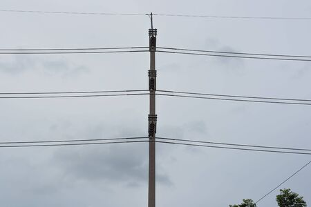 electricity post: Eletricity line and electricity post the cable on pole