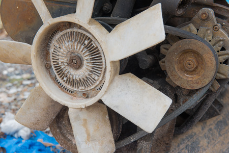dirty car: Rusty old dirty  car  engine crash repairs. in workshop Stock Photo