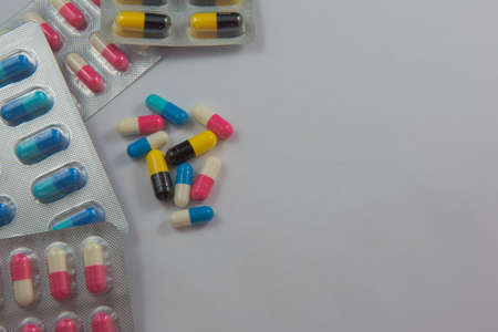 prophylactic: colorful  capsule Panel drug on white  background Stock Photo