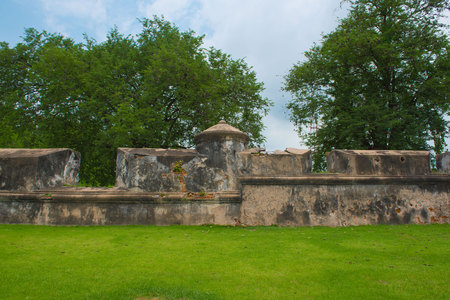 dilapidated: Dilapidated old fortress City walls. Thailand, background Stock Photo