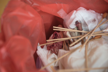 wastes: infectious wastes in red bag at hospital