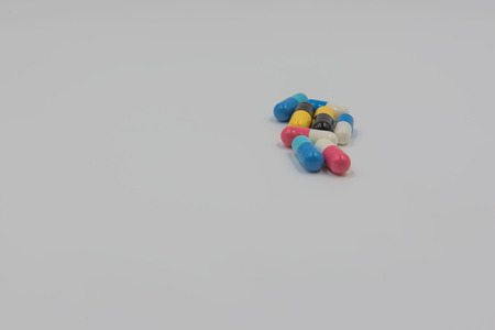 prophylactic: Colorful capsule drug on white background