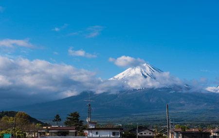county side: Fuji Mountain view from Japanese countryside town and blue sky background.