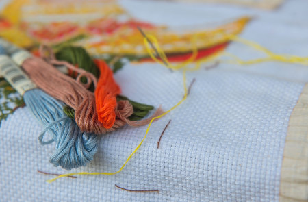 closeup  colorful thread for cross-stitch embroidery. Stock fotó